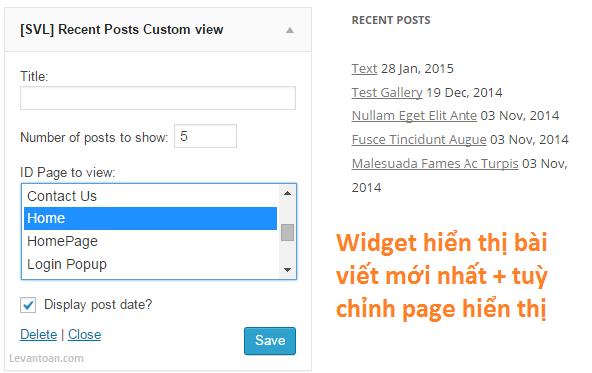 Widget hiển thị bài viết mới nhất và tuỳ chỉnh page hiển thị