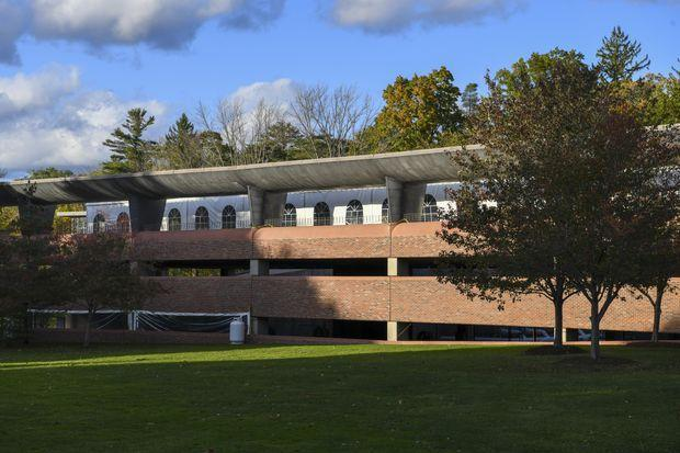 Williams College's Covid-19 testing tent complex is on the third level of a parking garage...