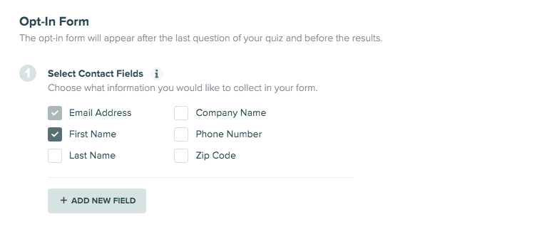 opt-in form fields in Interact