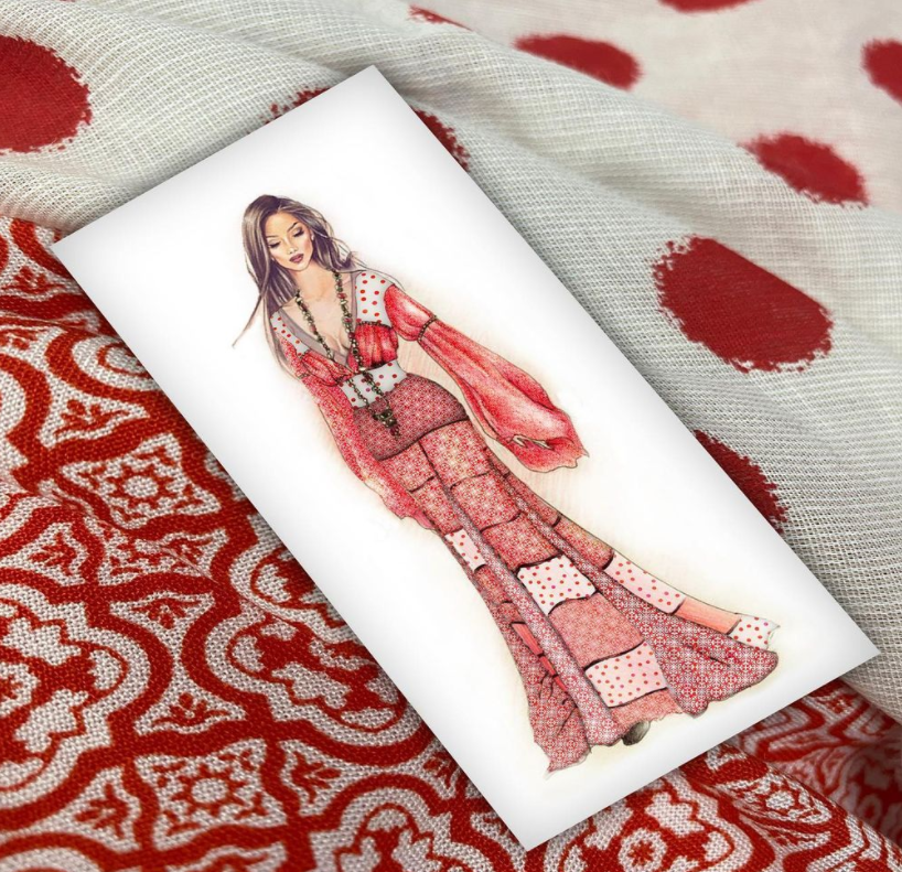 red dress sketch