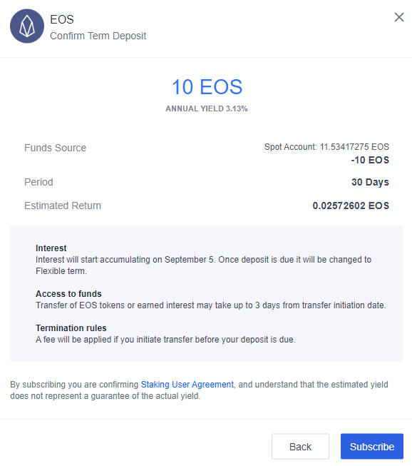 Confirmed Term Deposit - EOS