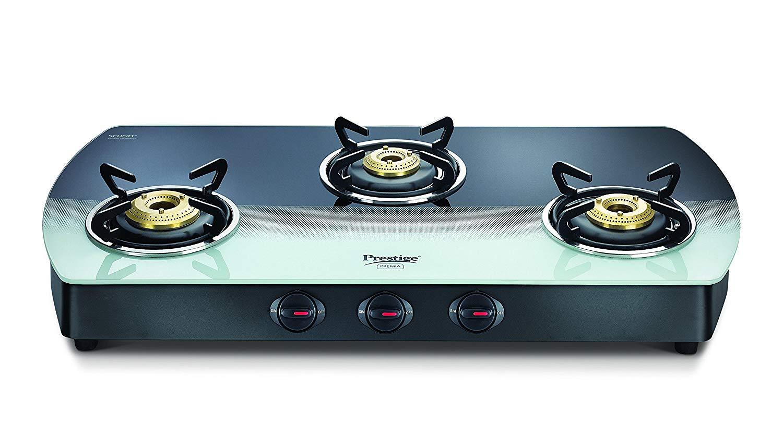 Prestige Premia Glass 3 Burner Gas Stove