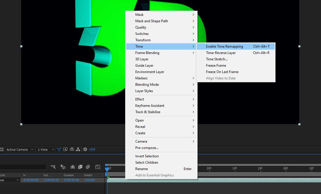 after effects time enable time remapping