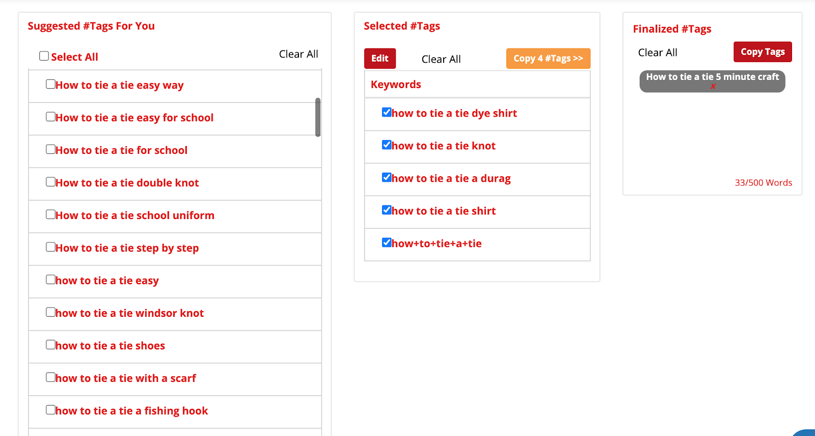 "To finalize your tags, you can copy tags from the ""Selected #Tags"" column to the last ""Finalize #Tags"" one."