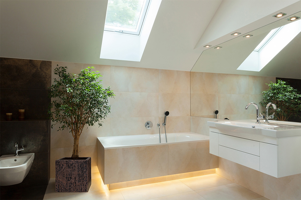Thiết kế nội thất nhà tắm với ánh sáng