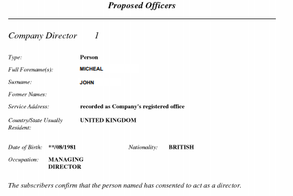 proposed officers in the UK company