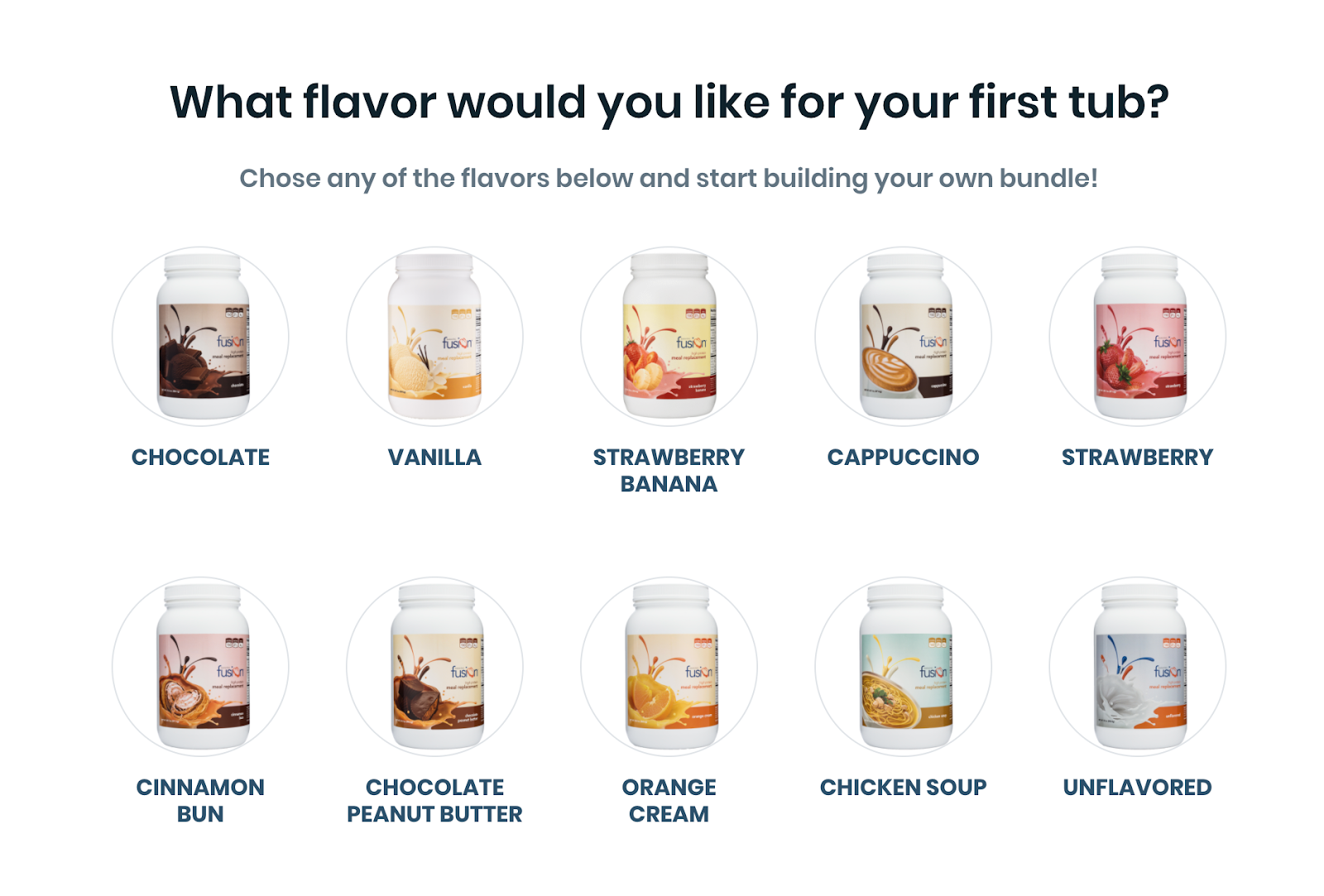 Quiz question showing variety of protein flavors