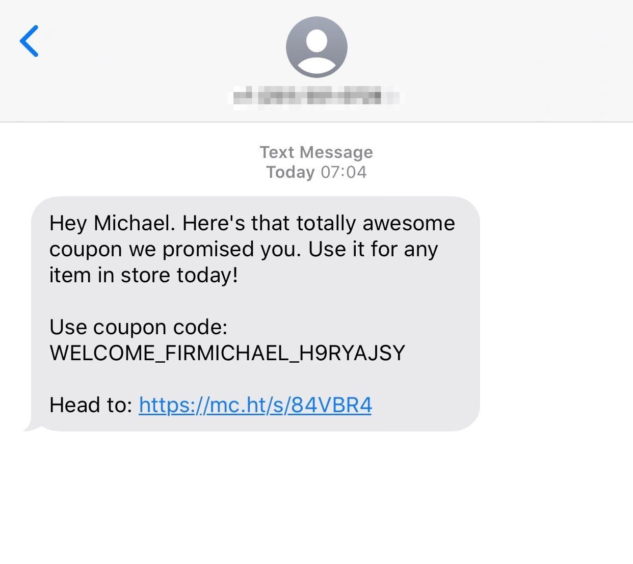 Example SMS ad