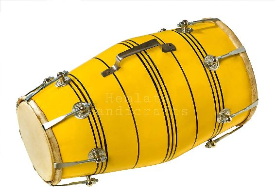 Best Dholaks In India (Hemlata Handicrafts Yellow Nut Bolt Dholak)