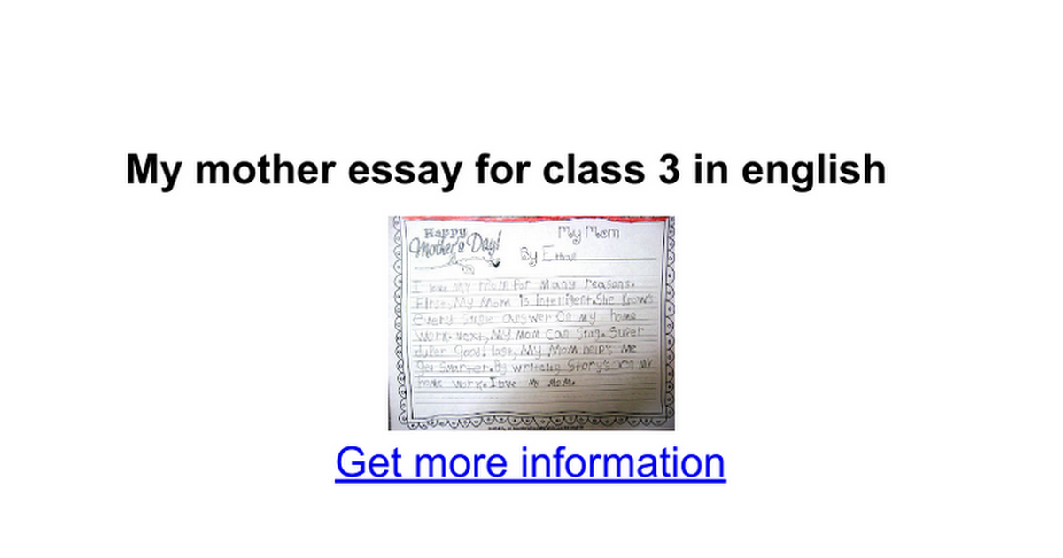 Learn English Essay  Persuasive Essay Examples For High School also Essay Thesis Statement My Mother Essay For Class  In English  Google Docs Essay Writing Paper