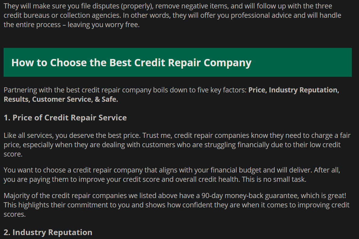 How to choose the best credit repair company.