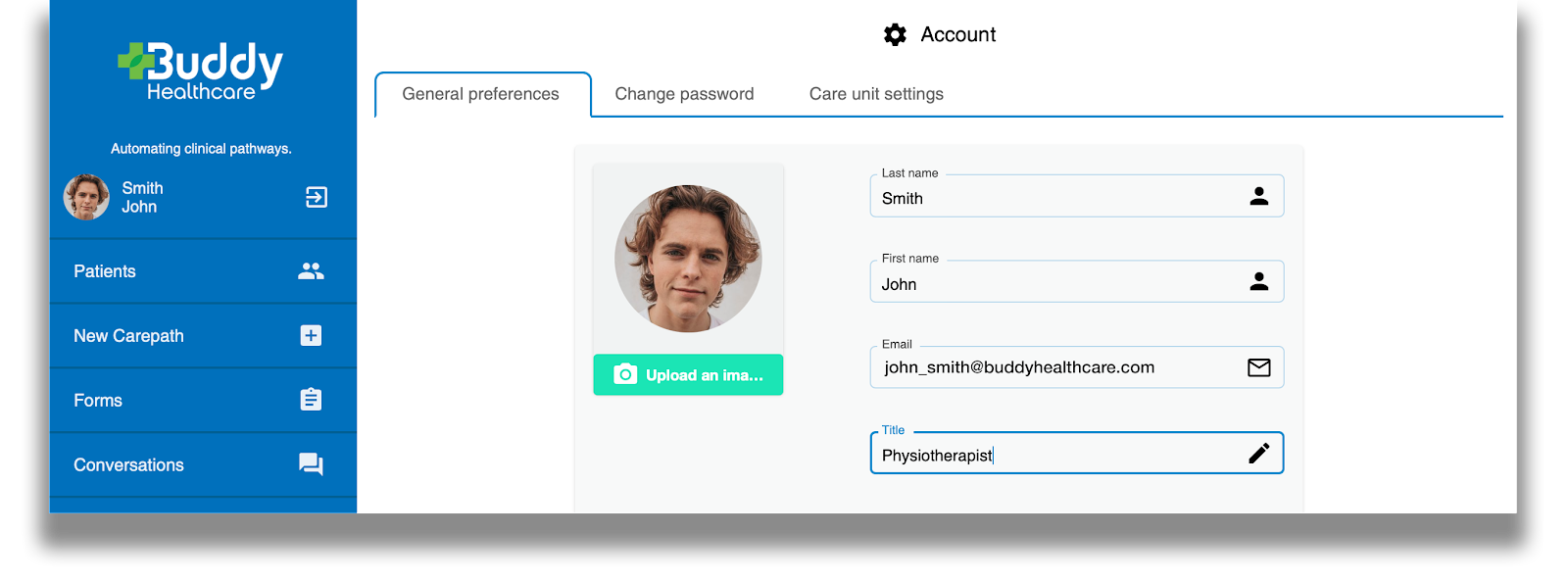 Care personnel dashboard user custom title feature