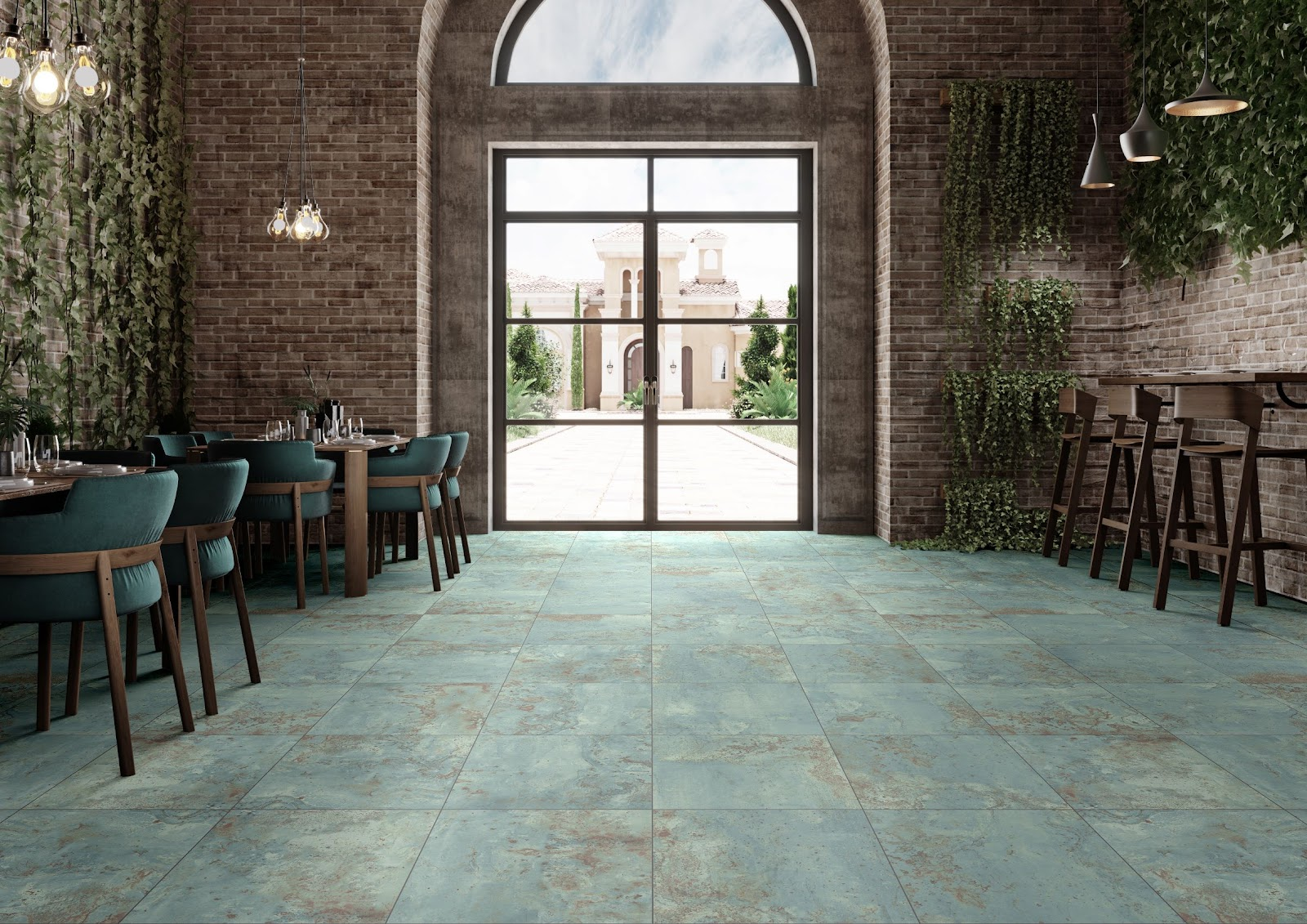 Oxidized green ceramic tile flooring in a restaurant