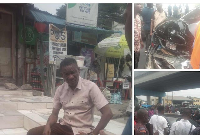 Man escapes death as a tipper racing on top speed runs into a Mercedes at Eliozu Junction