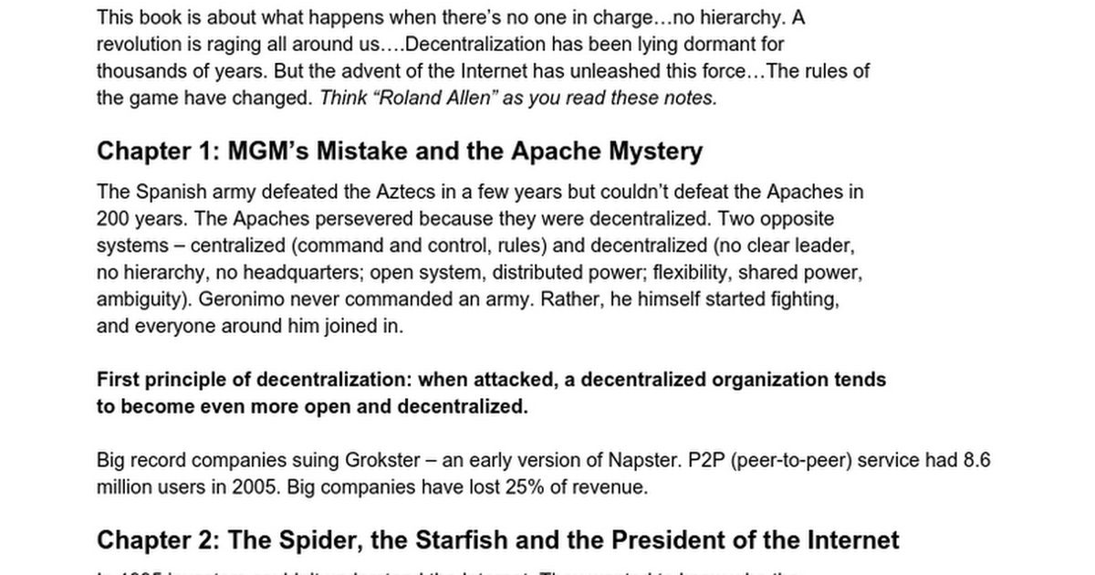 the starfish and the spider summary pdf