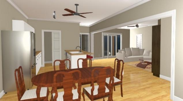 A dining table and chairs in a living room  Description automatically generated with medium confidence