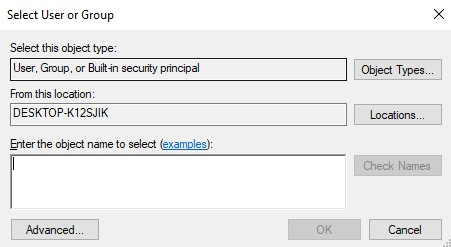 Enter the object name to select