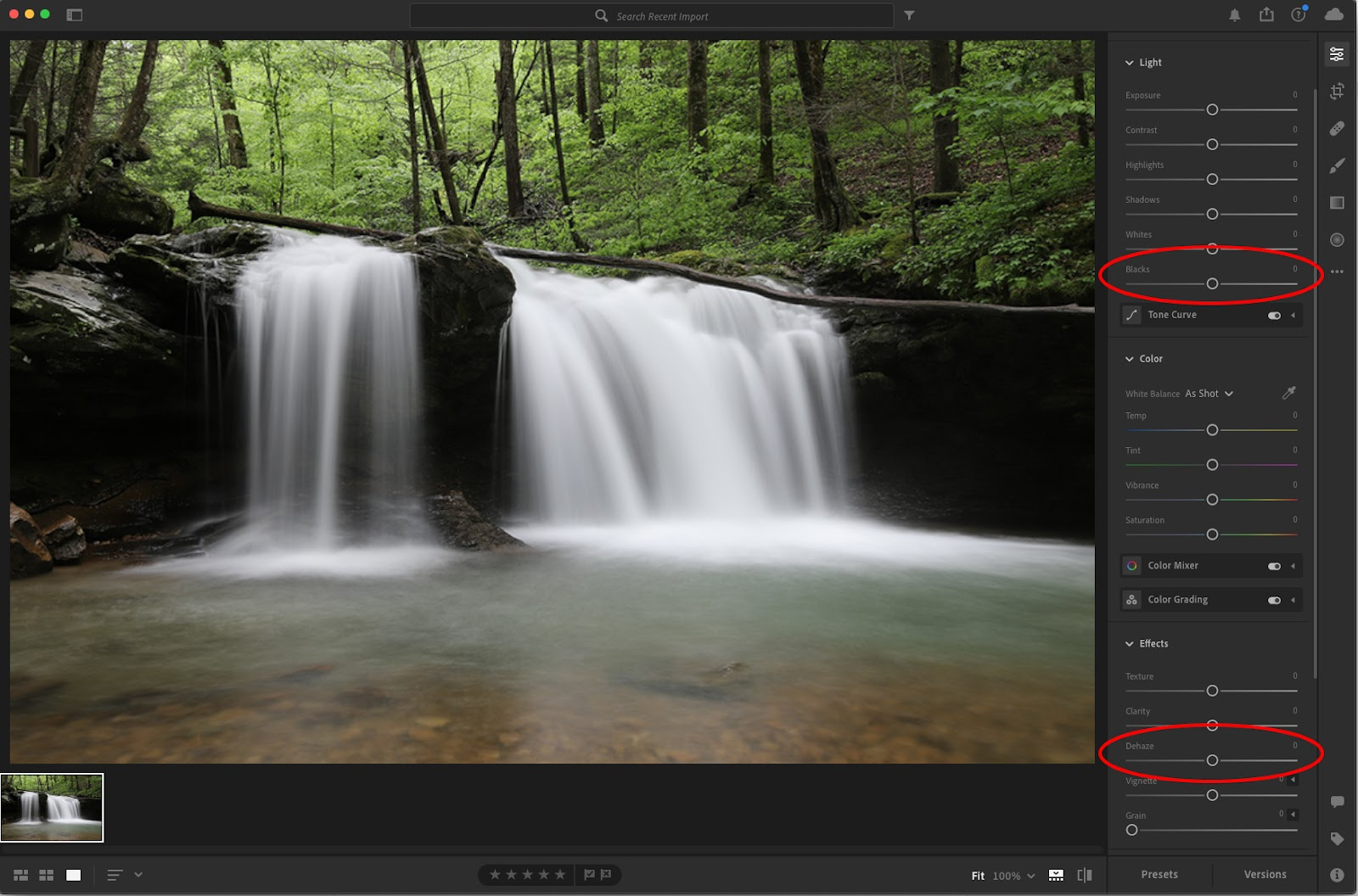 Use Blacks slider and Dehaze slider in Adobe Lightroom for noise reduction