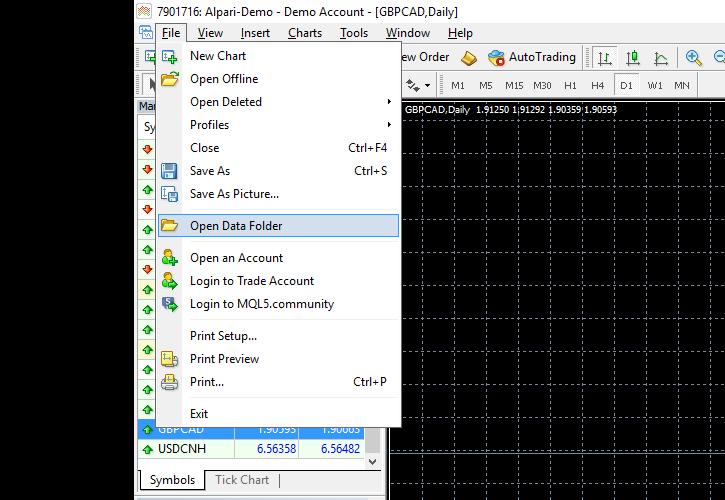 Open data folder in another platform