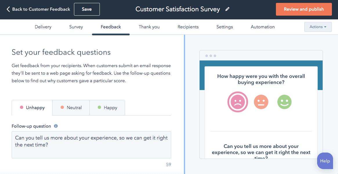 customer satisfaction feedback survey example