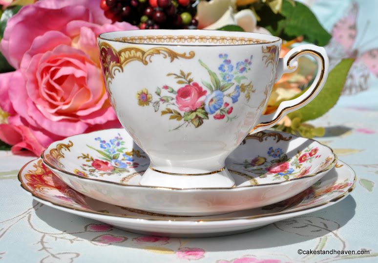 Tuscan Windsor fine English bone china tea cup trio 1947