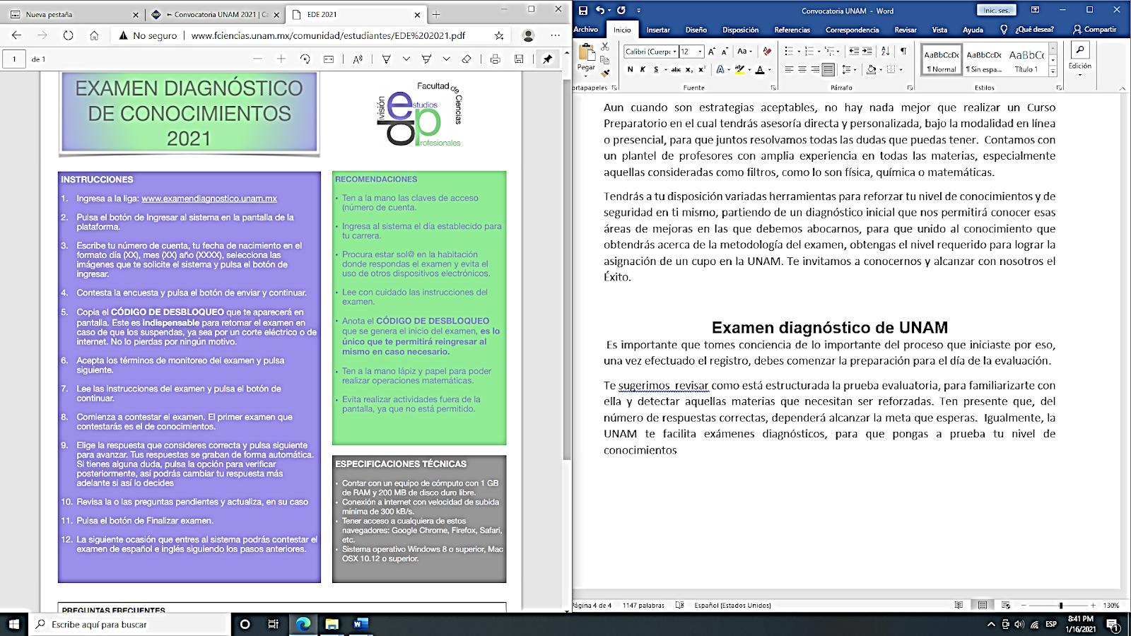 Fechas y registro en la convocatoria UNAM 2