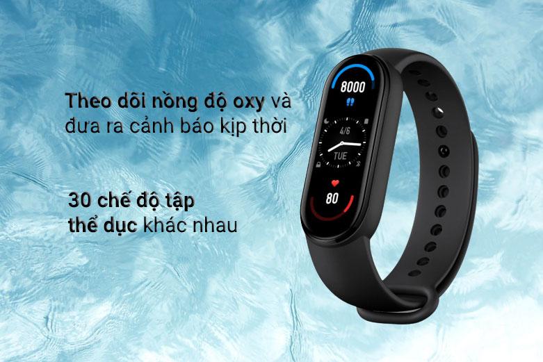 Vòng Đeo Tay Thông Minh Xiaomi Mi Smart Band 6 (Đen)   Theo dõi nồng độ Oxy