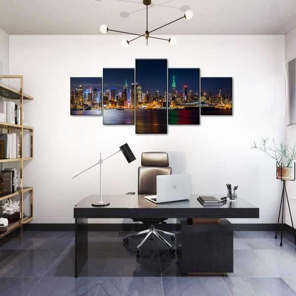 New York Night Energy Multi Panel Canvas Wall Art