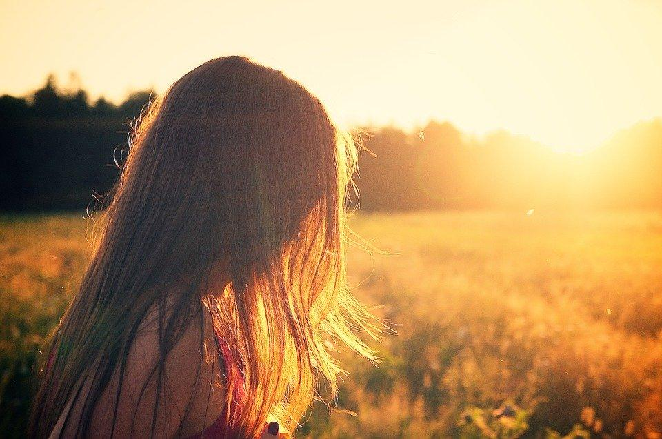 Summerfield, Woman, Girl, Sunset, Twilight, Summer