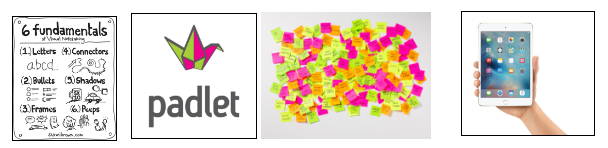 For example, research reflection logs, visual note-making, charts, post-it notes, photographs, etc.
