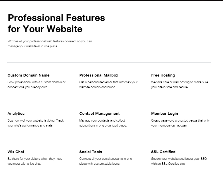 Wix Professional Features