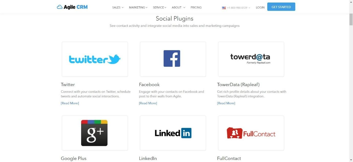 agile CRM social plugins