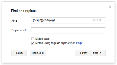 Regular expression search in Google Docs