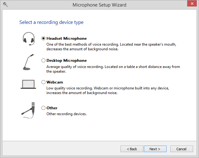 Microphone Setup Wizard in iSpring Manage Narration, selecting a recording device type