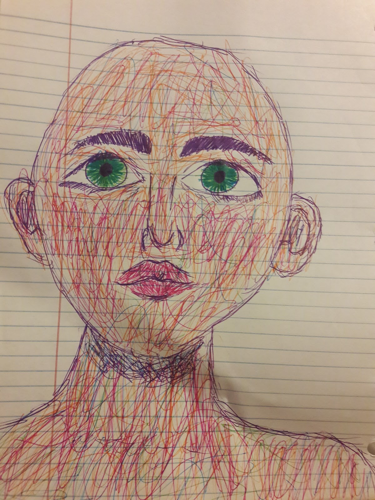 bald woman with green eyes