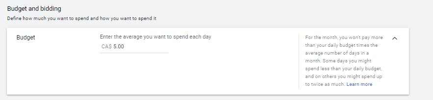 Setting Google Ads campaign - Budget