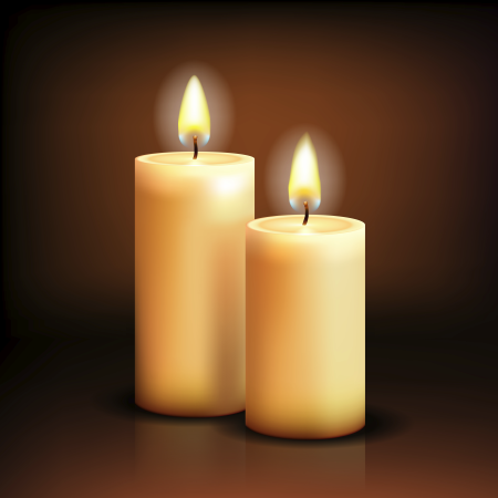 Isolated realistic candles. Vector illustration