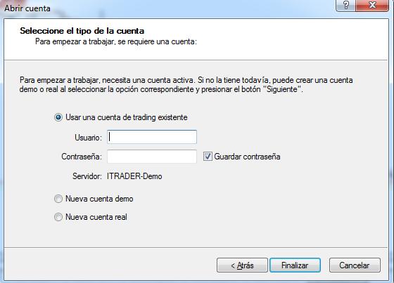 Abrir una cuenta en MT4 para hacer trading de criptomonedas con iTrader