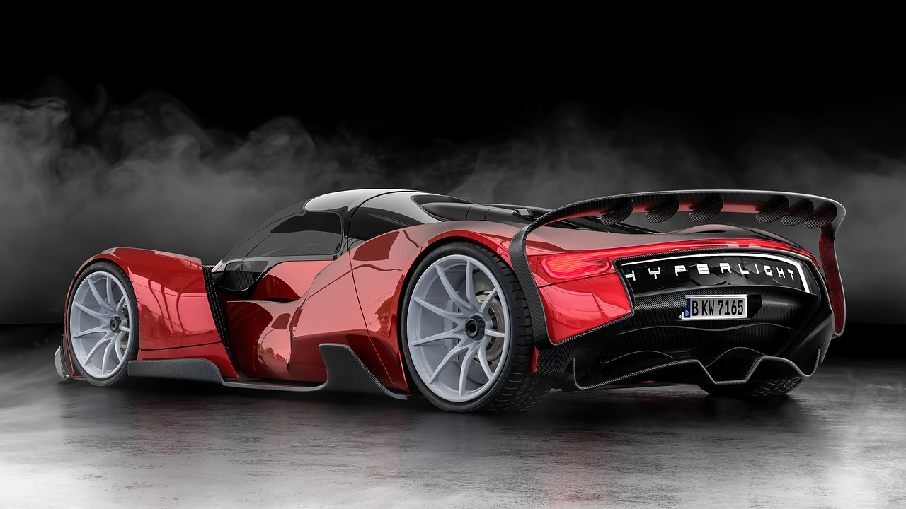 3D Design concept of a car, red and black exterior