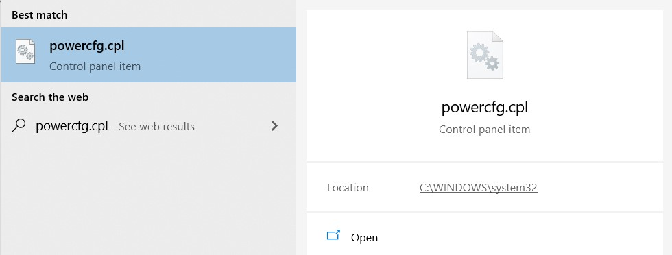 Search result for powercfg.cpl
