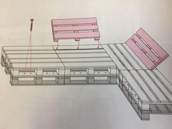 Чертеж угловой модели дивана из поддонов