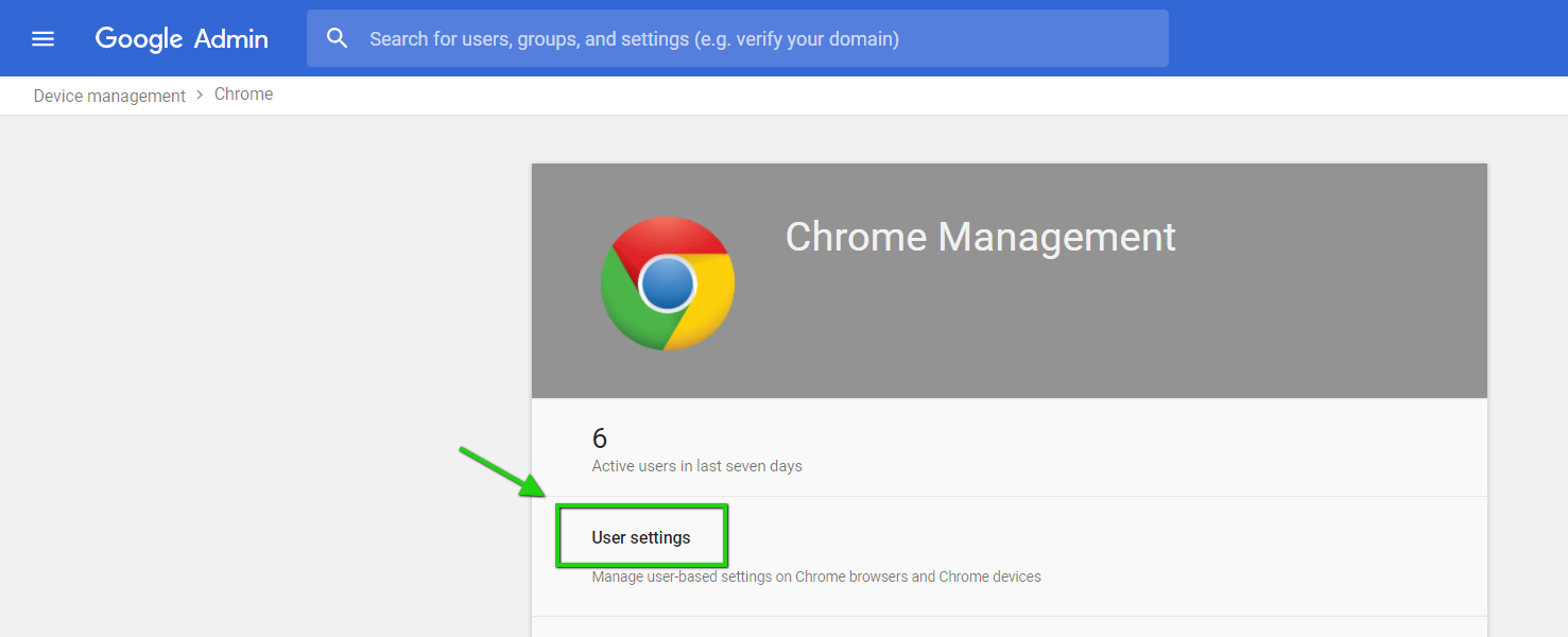 """Click on """"User Settings"""" in the """"chrome"""" section."""