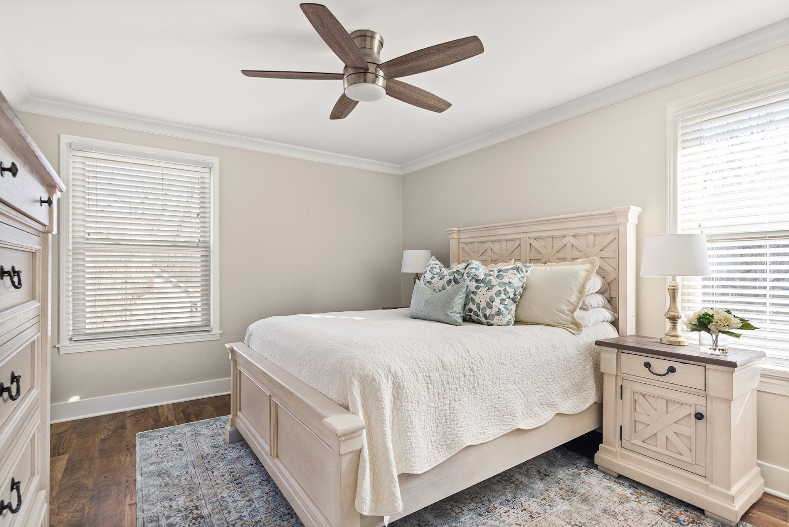 Superior construction and design Lebanon, TN 1970s Ranch Reno bright bedroom with rustic white bedroom set