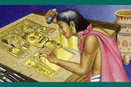 persona tallando en oro pectoral de Yanhuitlan.