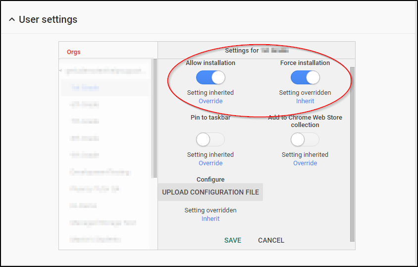 Google Admin Console User Settings