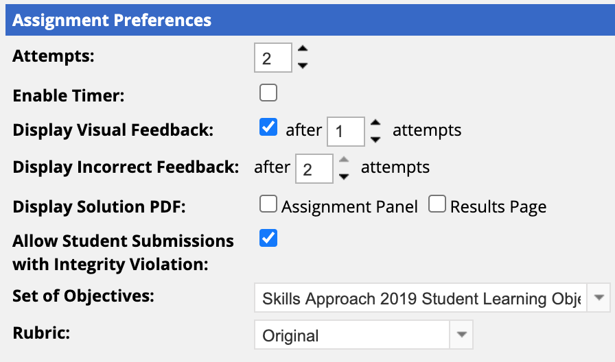 Project Assignment Preferences