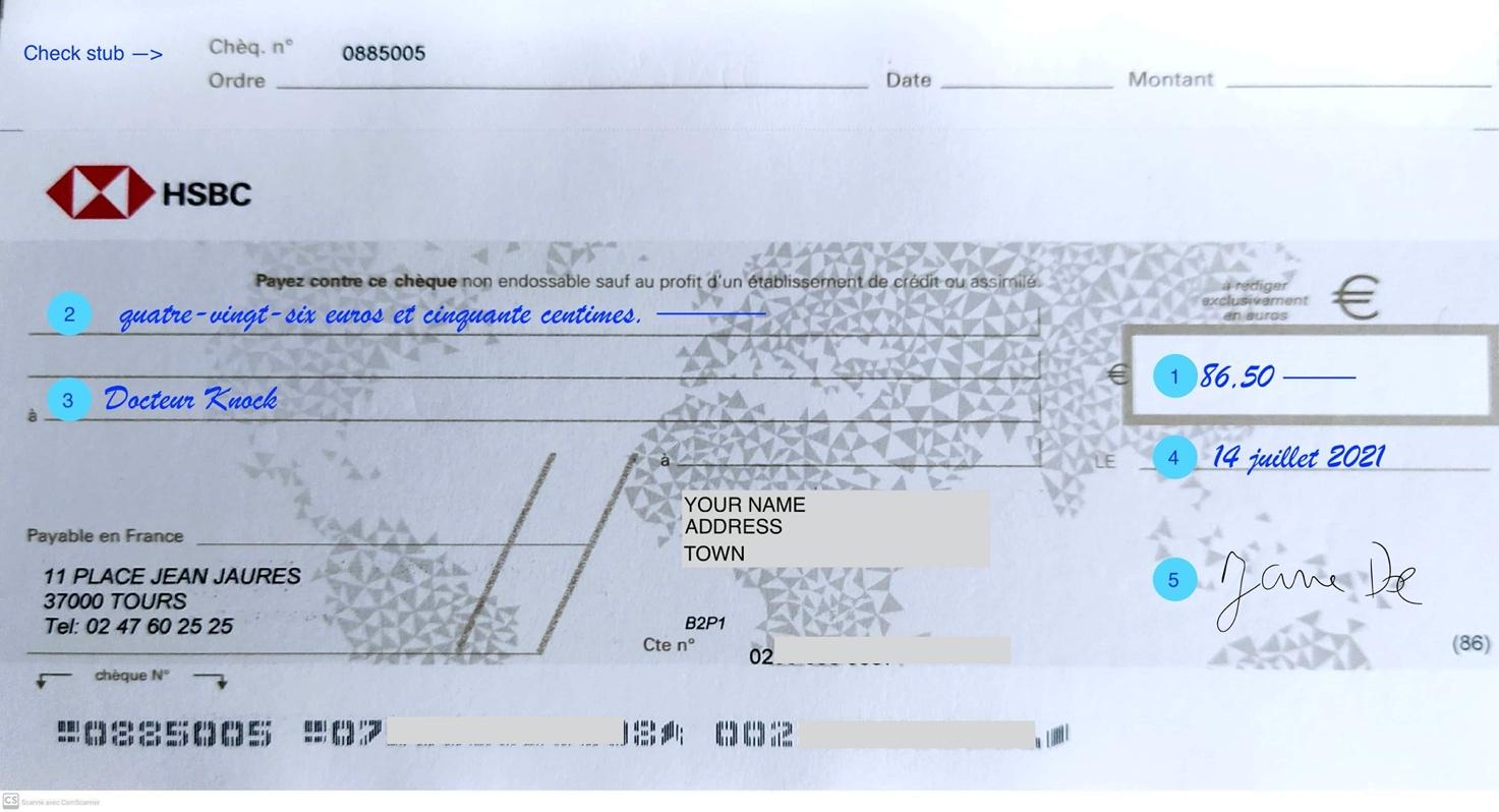 Example of a French cheque