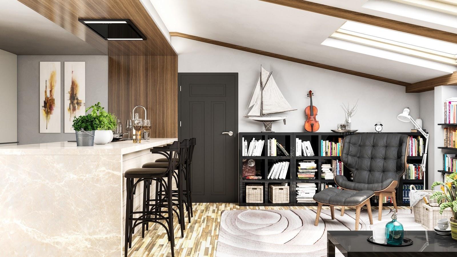 Okap do kuchni z salonem sufitowy