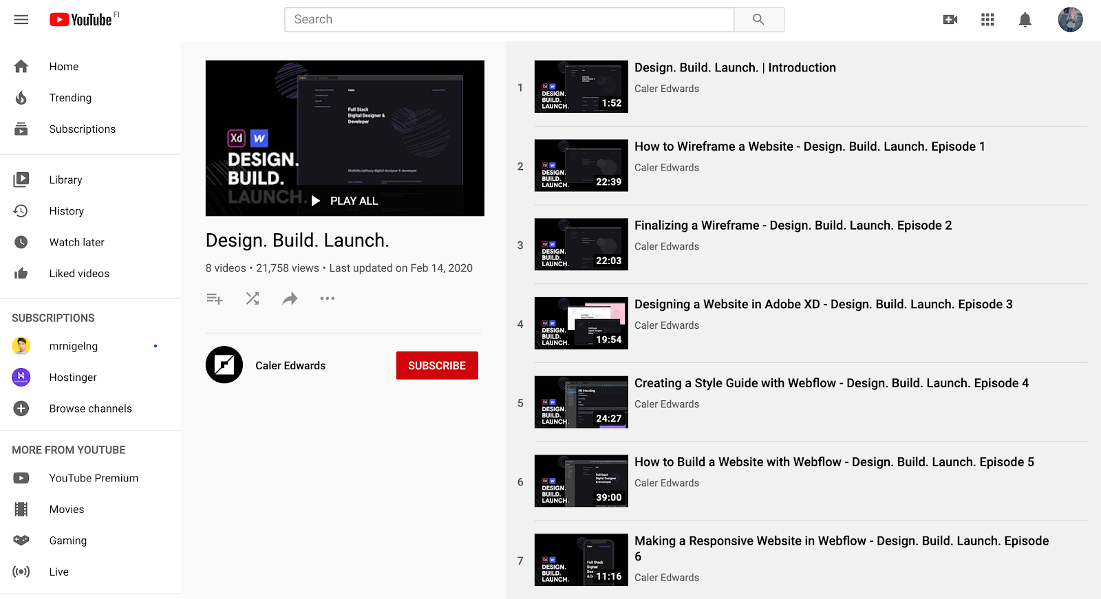 YouTube page of Design. Build. Launch web design series