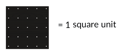 For this exercise, the geoboard grid is 1 square unit.